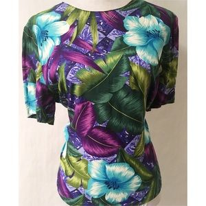 Purple & Green Vintage Top Size 12